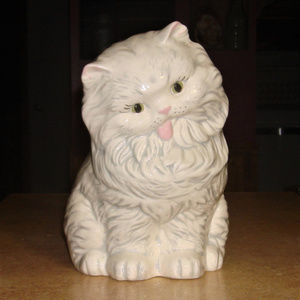 Vintage Ceramic Glazed Persian Cat Statue